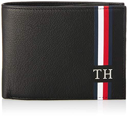 Tommy hilfiger th corporate cc flap and coin - porta carte di credito uomo, nero (black), 3x10x12.8 cm (b x h t)