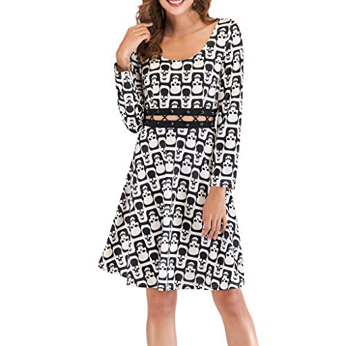 Mode Damen gedruckt Langarm O Ausschnitt aushöhlen Verband Pach Arbeit Kleid Strandkleid Blumenkleid (Kleider Midi-arbeit)