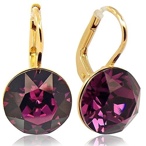 Ohrringe mit Kristallen von Swarovski® Gold Amethyst Rot Lila NOBEL SCHMUCK