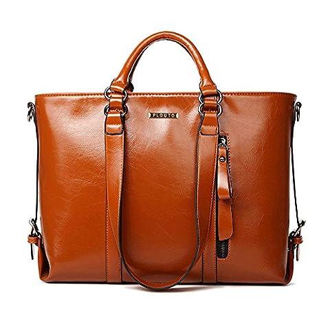 Plouto Damen Handtasche Braun Leder Damen Schultertasche Frauen Umhängetasche groß (Braun)