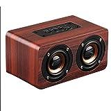 LOEROY Holz Lautsprecher, tragbare kabellose Dual-Driver-Lautsprecher, 1500 mAh, TF-Karte, 3,5-mm-Standard-Audiokabel, USB-Aufladung