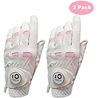 FINGER TEN - Guante de Golf de Cuero para Mujer con Marcador de Bola Paquete Extra Económico, Lzquierda Derecha Rosa Fit Mujer Niña, Tamaño Pequeño Mediano Grande XL