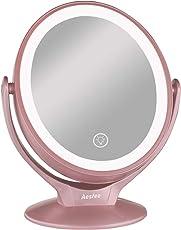 Specchio da Trucco con 21 Luci LED, Ingrandimento 1x / 7x Specchio da Trucco LED a Doppia Faccia Rotazione 360° con Touch Screen Dimming, Specchio Cosmetico da Appoggio Portatile USB Ricaricabile, Oro Rosa