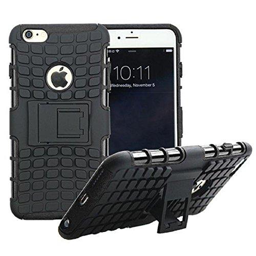 Motif de Tire Téléphone Shell Housse de protection pour iPhone Combo Armure 6 Plus / 6S Case Pone Plus avec Titulaire de soutien, Noir