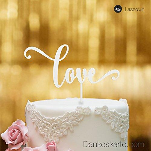 Dankeskarte.com Cake Topper Love Schriftzug - für die Hochzeitstorte - Weiss - XL