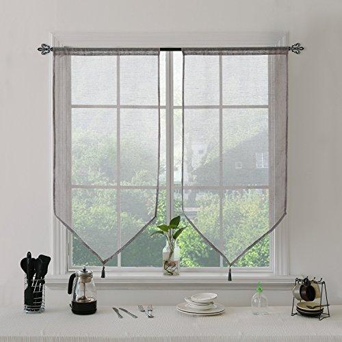 Deconovo coppia tende a vetro tendine in poliestere con frangia 60x160 cm grigio 2 pannelli