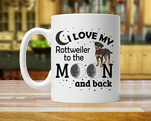 CiCiDi 11 Unzen Kaffeetasse-Rottweiler, Rottweiler Becher, Rottweiler Geschenk, Rottweiler Kunst, ich liebe mein Rottweiler, Rottweiler Mond und zurück, Liebe Rottweiler, Rottweiler