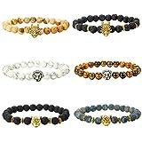 Finrezio 6PCS 8mm Perlen Armbänder Set für Männer Drachen/Lion/Panther Lava Rock Stein Armband