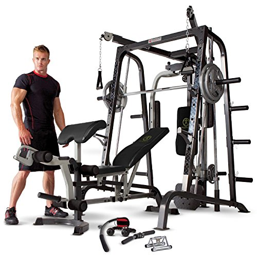 Marcy MD-9010G Home Gym Smith Machine with Weight Bench