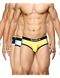 BASIICS by La Intimo Men's Black, White, Yellow Double Stripe Classic Brief (Pack of 3)