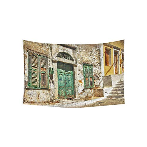 Alfreen Tapestry Art Decor, Charming Old Streets of Greek Islands Pattern Tapestries Wall Hanging Flower Psychedelic Tapestry Wall Hanging Indian Dorm Decor for Living Room Bedroom - Street Wall Tapestry