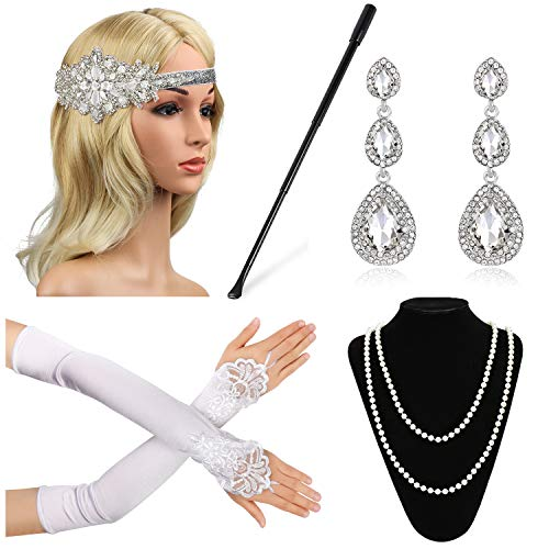 Beelittle 1920s Accessories Set for Women Flapper Headband Pearl Necklace Gloves Porta Sigarette per Great Gatsby Party (M13)