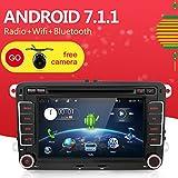 Reproductor de DVD con pantalla táctil, Quad-Core Android 6.0 2 Din de 7', con cámara + Canbus, compatibilidad Mirror Link, OBD2, altavoz de graves, RDS y Bluetooth para automóviles Volkswagen.