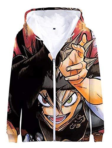 Cosstars Anime Black Clover 3D Druck Hoodie Jacket Cosplay Kostüm Zip Kapuzenpullover Sweatjacke Outwear Mantel 3 - Dye Sublimation Kostüm