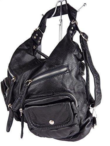 JODY 89297, 2in1 Damen Rucksackhandtasche, Handtasche und Rucksack, 37x28x15cm (grau taupe) schwarz
