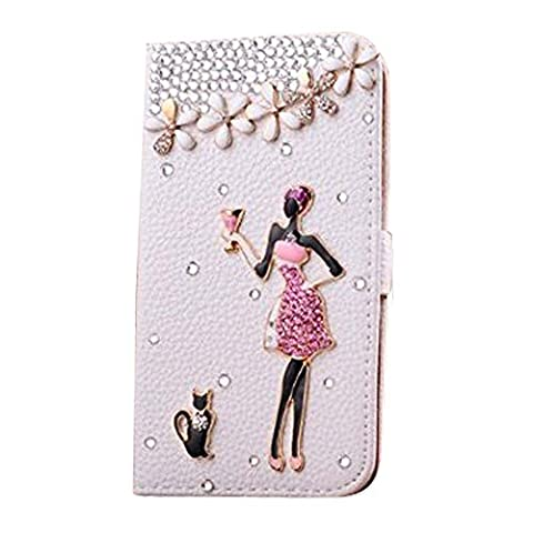 Arden Samsung Galaxy S5 i9600 3D Bling High Quality Luxury Lovely Elegant Romantic 3D Bling Tinkerbell Diagonal Diamond with Beautiful girl, Cute Kitty Cat and Rose Flowers Crystal Rhinestone PU Leather Flip Wallet Case Cover for Samsung Galaxy S5 i9600 Color-White (Samsung Galaxy S5