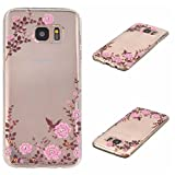 Galaxy S7 Edge Cover, KKEIKO� Galaxy S7 Edge Case, Flexible Soft TPU Protective Cover, Bumper Shell Ultra Thin Skin Case for Samsung Galaxy S7 Edge with Free Tempered Glass Screen Protector (Flower)