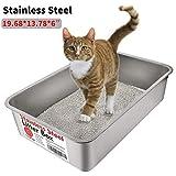 Katzentoilette Gross, Yangbaga Kaninchentoilette - Katzenklo Edelstahl für großes Häschen und große Katze 50 * 35 * 15 (Silber)