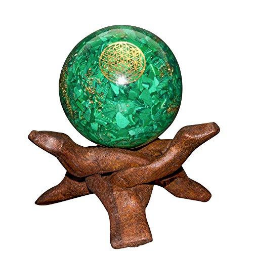 Crocon verde Malachite Orgone sfera fiore della vita simbolo generatore di energia per Reiki guarigione chakra bilanciamento & EMF protezione Dimensioni: 50–60mm