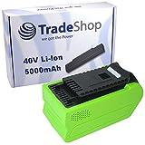 Trade-Shop Premium Li-Ion Akku, 40V / 5000mAh / 200Wh für Greenworks G-MAX Heckenschere 22637T 22147T, Kettensäge 20117 20077, Hochentaster 20157, Kultivator 27087, Kompressor 4100102 ersetzt 29472 29282 2601102 20302 2601402 29727