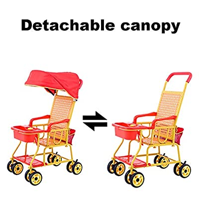 CHEERALL Kinderwagen-Sommer-Rattan-Kinderlaufkatze Leichter Breathable Bambus- und Rattan-Spaziergänger mit abnehmbarem Überdachungs-Kinderwagen für Kind von der Geburt bis 3 Jahre