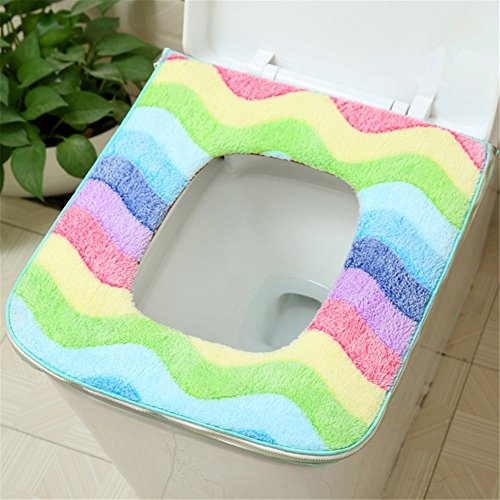 Affe Quadratisch Zipper-Design Waschbar Badezimmer WC-Sitzbezüge Toiletten Abdeckung Sitz Deckel Pad Mat (Blau) (Quadratisches Mat Bild)