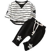 Conjuntos de ropa de invierno,RETUROM Casual niños algodón Stipe camiseta Star pantalones sólidos