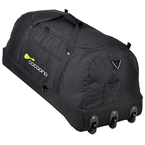 COCOONO Borsone da viaggio XXL con ruote, 100-135litri di volume, pieghevole, trolley modello STORM, colori a scelta, nero (nero) - 15581