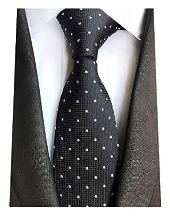 f823181de6df MENDENG Men's Black and White Polka Dot Silk Tie Wedding Necktie Elegant  Ties