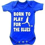 Born To Play Football pour le blues à manches courtes Body bébé grenouillère sans manches pour femme Motif Grow en bleu royal et blanc - Bleu - 0-3 mois
