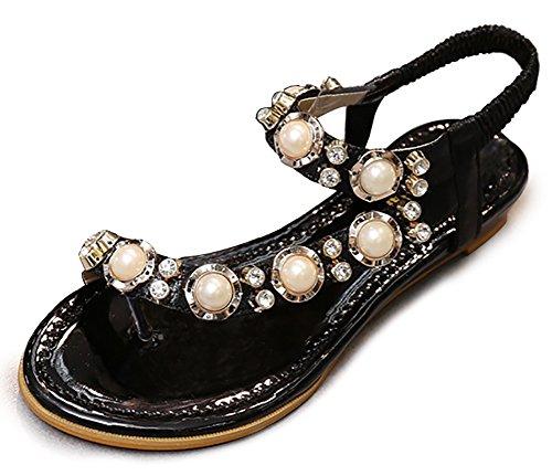 Odema Sandali Donna Perla Strass Cristallo Diamante Infradito Cinturino Alla Caviglia Senza Tacco Nero