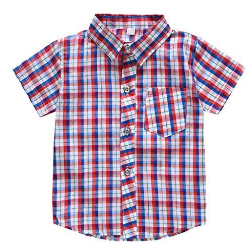 Julhold Kleinkind Baby Kinder Jungen Einfach Streifen Plaid Tasche Lässig Baumwolle T-Shirt Tops Freizeitkleidung 1-7 Jahre (Kurzarm-shirts 6 Jungen Größe)