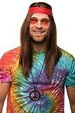 Hippie Set mit Perücke + runde Sonnenbrille + Peace Anhänger + rotes Kopfband für Herren & Damen 70er Jahre Fasching Karneval