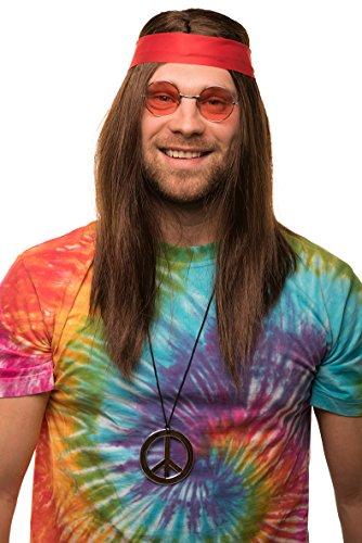 Haare Rote Kostüm Männer - Hippie Set mit Perücke + runde Sonnenbrille + Peace Anhänger + rotes Kopfband für Herren & Damen 70er Jahre Fasching Karneval
