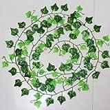 Sanwood® Girlande, künstlicher Efeu Pflanzen Vine Fake Blattwerk Blumen Home Decor, grün, Einheitsgröße