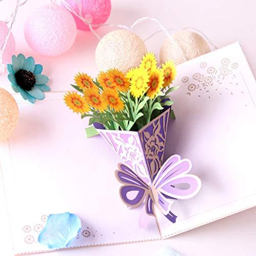 Andouy Pop Up-Karte, 3D-Karte, Grußkarte, Muttertagskarte, Geburtstagskarte, Valentinskarte, Jubiläumskarte(B.)