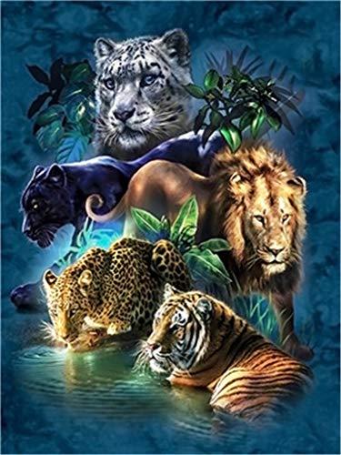 YEESAM ART New Malen nach Zahlen für Erwachsene Kinder-Wald Tiere Tiger Leopard Löwe 40,6x 50,8cm Leinengewebe-DIY Digital Malen nach Zahlen Kits auf Leinwand, with Frame
