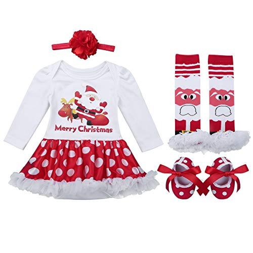 Agoky Baby Mädchen Weinachten Kleidung Set Neugeborenes First Christmas Party Festzug Outfits Body Strampler mit Tutu Rock Blumen Haarband Santa Claus 0-3 Monate