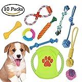 ZOOYAUE Hundespielzeug Set,10er Haustier Spielzeug welpenspielzeug Kauspielzeug Seil, Ball, Baumwollknoten, Frisbee, Kauspielzeug Spielzeug Set für kleine Hunde und Welpen