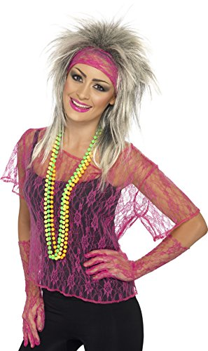 Neon Pink Lace Net Vest with Gloves and Headband