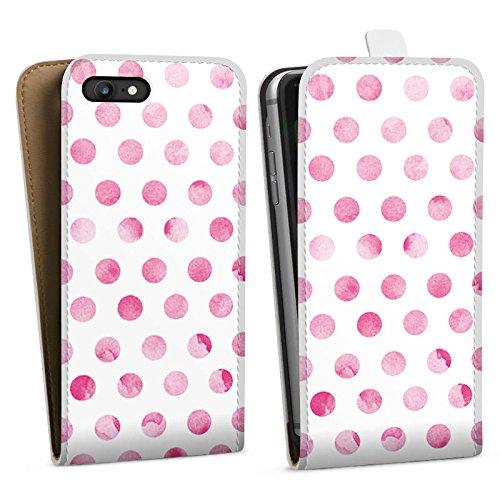 Apple iPhone X Silikon Hülle Case Schutzhülle Punkte Frühling Pink Downflip Tasche weiß