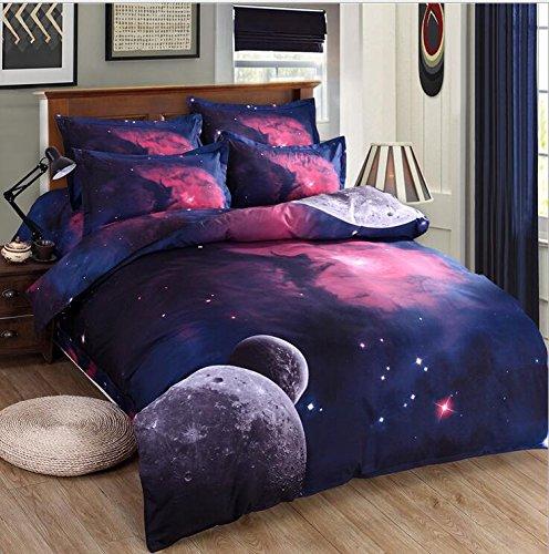Galaxy 3D Öl Print Baumwolle Tröster Bettdecke Geheimnisvolle Sky Night Bettbezug-Set und Kissenbezug-Set King Size 4Stück (inklusive Bettwäsche Bettbezug + Bettlaken + 2Kopfkissenbezüge) (K)