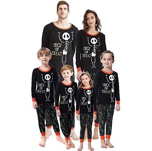RYTEJFES Halloween Kinder Kinder Brief drucken Top + Hosen Familie Kleidung Pyjamas Set Skelett Motiv Langarm Muster Gedruckt Nachtwäsche Outfits Pyjama