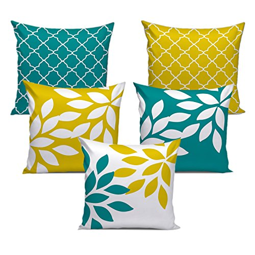 Dream Weaverz Stylish Abstract Leaf Print Cushion Cover Set of 5- Made...