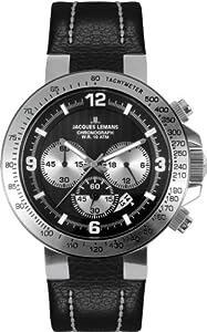 Reloj de caballero JACQUES LEMANS Powerchrono 2009 1-1485A de cuarzo, correa de piel color negro de Jacques Lemans