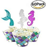 Herefun 60 Pcs Cake Topper de Sirena Topper, Decoración de Pasteles para Fiesta Decoraciones de