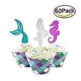Herefun 60 Stücke Meerjungfrau Mini Kuchendekoration Cupcake Toppers und Wrappers Verpackung, Handmade für Kinder Party Kuchen Dekoration Geburtstag Deko Party Gegenstände