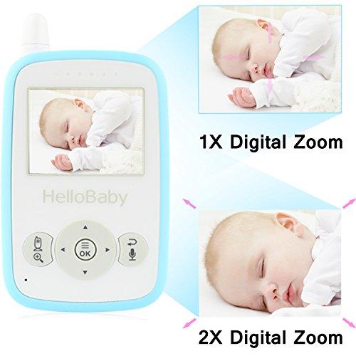 HelloBaby HB24 2.4″ Digital Funk TFT LCD Drahtlos Babyphone Wireless Video Kamera Baby Monitor Babyviewer Überwachung Nachtsicht + Temperatursensor EU Plug(Weiß&Blau)