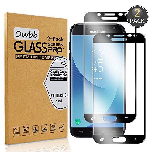 Owbb 2 Stück Schwarz Gehärtetes Glas Display Schutzfolie Für Samsung Galaxy J5 DUOS/J5 2017 J530 (Euro Version) Full Coverage Schutz 99% High Transparent Explosionsgeschützter Film