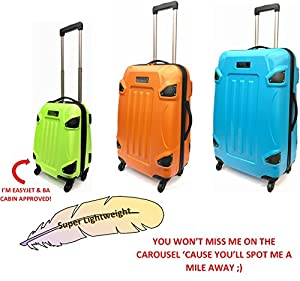"Super Lightweight ABS Hard Shell Armour-Style Durable Hold Luggage Suitcase Travel Case With 4 Wheels in Large(28""), Medium(24""), Cabin Approved For EasyJet & BA (18"")"